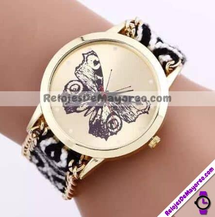 R4022-Reloj-Pulsera-Tejido-con-Cadena-Mariposa-Monarca-Negro-Blanco-reloj-de-moda-al-mayoreo.jpg