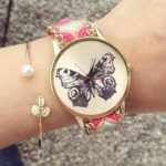 R4023-Reloj-Pulsera-Tejido-con-Cadena-Mariposa-Monarca-Rosa-Verde-reloj-de-moda-al-mayoreo.jpg
