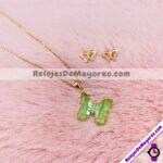 A2163 Collar Dije de Mariposa Con Piedra Color Verde y Diamantes Dorado Acero inoxidable bisuteria fabricante mayorista (1)