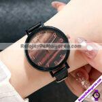 R4217 Reloj Tipo Marmol Cafe y Beige con Numeros Grandes Dorados Plastico con Textura reloj de moda al mayoreo