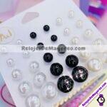 A2221 Aretes 15 pares de Esferas 5 Medidas Blanco Negro y Perla Acero inoxidable bisuteria fabricante mayorista (1)