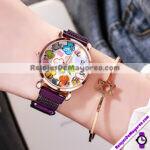 R4294 Reloj Blanco Con Flores Numeros Plateados Metal Mesh Iman reloj de moda al mayoreo