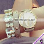 R4302 Reloj Paris Torre Eiffel Dorado Sin Numeros Piel Sintetica reloj de moda al mayoreo