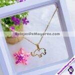 A2275 Set de collar y aretes silueta Elefante dorado Acero inoxidable bisuteria fabricante mayorista (1)