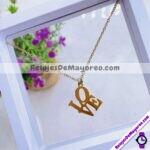 A2276 Set de collar y aretes dije LOVE dorado Acero inoxidable bisuteria fabricante mayorista (1)