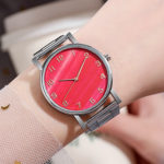 R4336 Reloj Marmoleado Rojo y Rosa Metal reloj de moda al mayoreo
