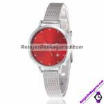 R4372 Reloj Fondo Rojo con Estrella de Diamante Metal Delgado reloj de moda al mayoreo