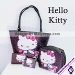 A2704 Combo Hello Kitty Monedero+ Cartera+ Cross Body+ Bolsa Grande Negro Acero inoxidable bisuteria fabricante mayorista (1)
