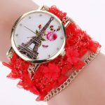 R4433 Reloj Pulsera Redonda con Fondo Torre Eiffel Tela reloj de moda al mayoreo